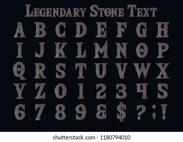 Legendary Stone Alphabet - 3D Illustration fantasy text