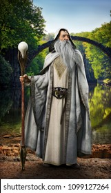 A legendary white wizard posing in front of mythical enchanted setting. 3d rendering