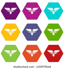 Legion wing icons 9 set coloful isolated on white for web