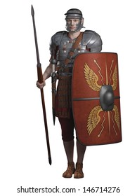 Legionary soldier of the Roman Empire wearing lorica segmentata armour, 3d digitally rendered illustration