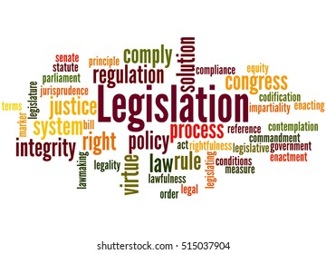 Legislation, word cloud concept on white background.