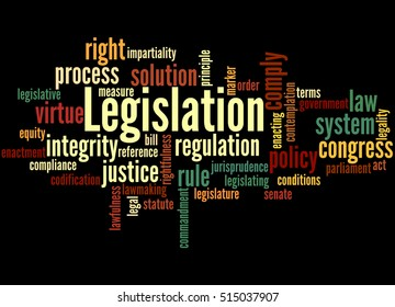 Legislation, word cloud concept on black background.