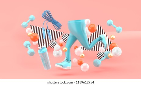 Legs and running shoes and fitness equipment amidst colorful balls on a pink background.-3d rendering.
