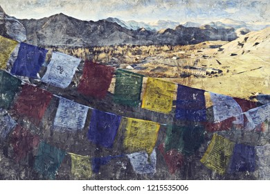 Leh city is located in the Indian Himalayas at an altitude of 3500 meters. Digital Art Impasto Oil Painting Abstract by Photographer.