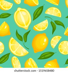 Lemon pattern. Lemonade exotic yellow juicy fruit with leaves illustration or wallpaper seamless background