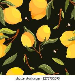 Lemon seamless pattern. Handpainted lemon illustration. Use for postcard, print, invitations, packaging etc.