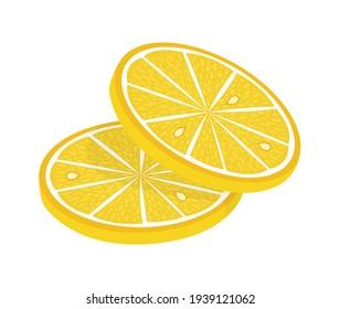 Lemon slice  illustration on white background. Fresh sour lemon icon. Logo design