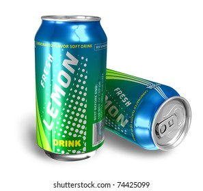 Lemon soda drinks in metal cans