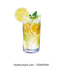 The lemonade glass with slice of lemon, watercolor illustration isolated on white background.