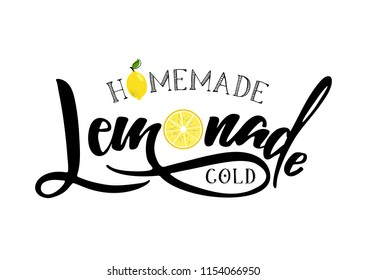 Lemonade lettering with lemon label. Brush calligraphy of word lemonade. Fresh, cold, homemade, sweet  lemon fresh drink. Illustration of tag, bange, sticker, logo. Lemon syrup, lemon juice