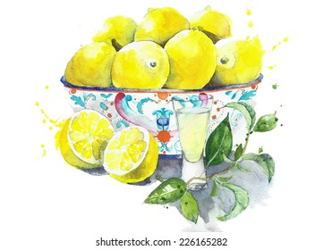 Lemons in the bowl with limoncello in the glass stillife watercolor painting isolated on white background