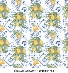 Lemons fruit branch with leaves and flowers tiles majolica provence. Watercolor illustration hand drawn patern seamless pattern. Sketch print textile vintage retro. Exotic