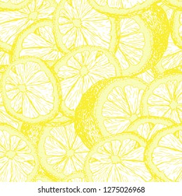 Lemons hand drawn seamless pattern. Yellow citrus color outline drawing. Fresh lemon slices and cuts sketch. Citrus fruit contour texture. Wrapping paper, textile sketched background