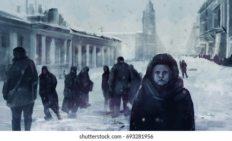 Leningrad siege illustration. Illustration of a starving child on a front and people walking on winter streets of Leningrad siege during The Great Patriotic War.