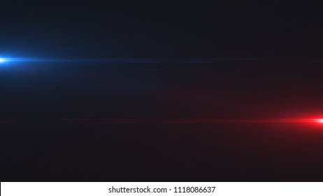 Lens flare. Cinematic background with digital flashes of light on the sides. Template with bright glow on dark. Good for using in trailer or intro and video production. 3d rendering
