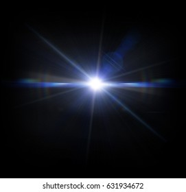 Lens Flare light rays on a black background.