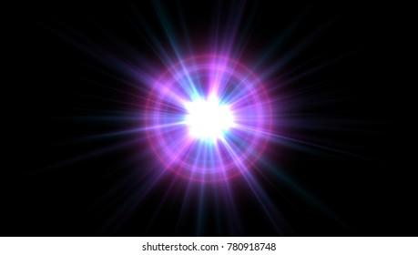 Lense flare effect for background, 3d render
