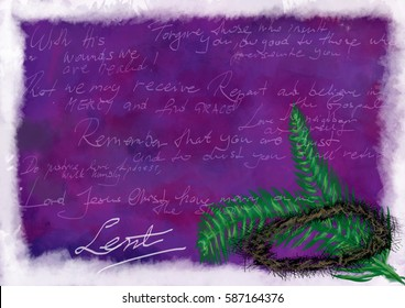 Lent background with crown of thorns and palm branches, symbols of the passion of Christ, with different Bible verses and prayers. Artistic abstract religious background with copy space for text.