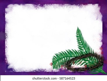 Lent background with crown of thorns and palm branches, symbols of the passion of Christ. Artistic abstract religious background with copy space for text.