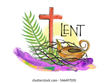Lent season christian religious illustration, abstract artistic watercolor style design, with  crown of thorns, palm branch and oil lamp, with copy space for text. Religious graphic element.