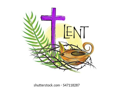 Lent season christian religious illustration, abstract artistic watercolor style design, with a cross, crown of thorns, palm branch and oil lamp, with copy space for text. Religious graphic element.