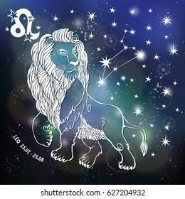 Leo Zodiac sign.Lion Horoscope constellation,stars.Abstract space, dark sky blurred background,stars,shiny bokeh.Design template.Astrology Illustration,Beast,King silhouette