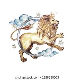 Leo - Zodiac Symbol. Watercolor Illustration.