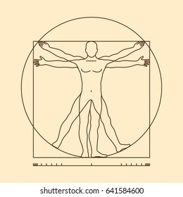 Leonardo da vinci vitruvian man form similar . Illustration of body man, classic proportion man