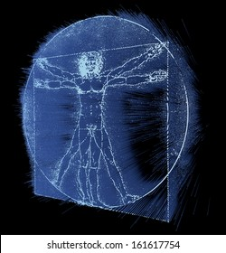 Leonardo Da Vinci's Vitruvian Man, Homo Quadratus, 3d rendering on black background