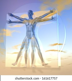Leonardo Da Vinci's Vitruvian Man, Homo Quadratus over sky, 3d rendering on background