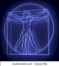 Leonardo Da Vinci's Vitruvian Man in a Blue Neon Tube, Homo Quadratus, 3d rendering on black background