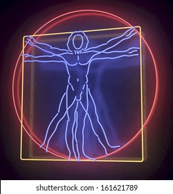 Leonardo Da Vinci's Vitruvian Man in blue, red and yellow Neon Tube Finish, Homo Quadratus, 3d rendering on black background