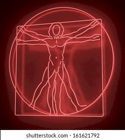Leonardo Da Vinci's Vitruvian Man in a Red Neon Tube, Homo Quadratus, 3d rendering on black background