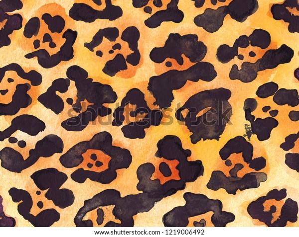 Leopard black yellow orange background. Watercolor hand drawn animal fur skin texture.