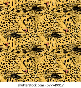 Leopard face tattoo , illustration, print
