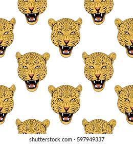 Leopard face tattoo , illustration, print