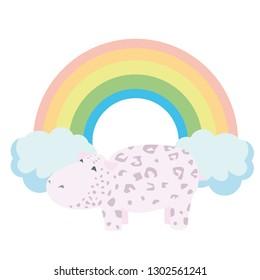 Leopard hippo on the background of a joyful rainbow