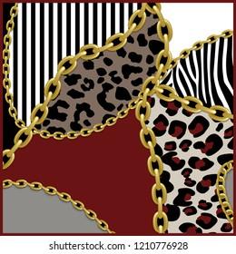 Leopard pattern, golden chain background.Silk scarf