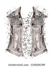 Leopard patterned denim jacket with around leaves design. JPEG format.