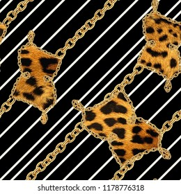 Leopard  print and golden chain black background.Seamless pattern.Animal print.