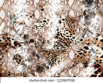 Leopard and python pattern wih flowers