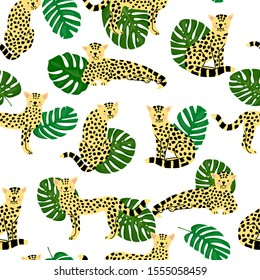 Leopard seamless pattern with palm leaves. Cheetah, leopard graphic design can be used for print, wallpaper, textile, bedsheet, baby room decoration. Raster version.