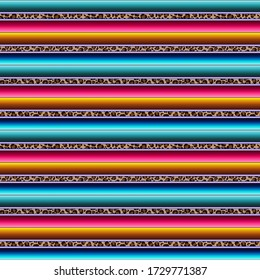 Leopard Serape Seamless Pattern - Colorful Mexican fabric repeating pattern design with leopard print detail