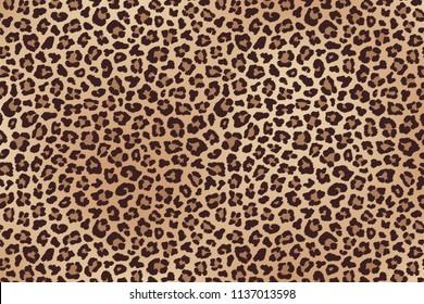 Leopard spotted beige brown fur texture. Raster version