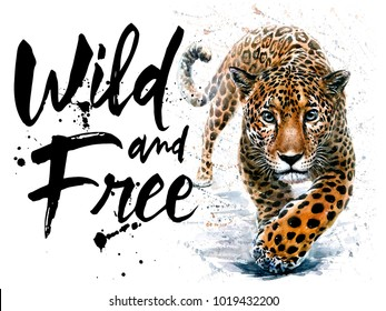 Leopard watercolor jaguar predator animals wildlife