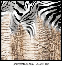 Leopard and zebra pattern. Silk scarf