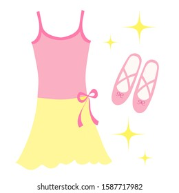 leotard and ballet shoes illustration