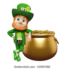 Leprechaun with golden coins in the pot for st patrick day
