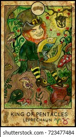 Leprechaun. King of pentacles. Fantasy Creatures Tarot full deck. Minor arcana. Hand drawn graphic illustration, colorful painting with occult symbols. Halloween   or St. Patricks Day background