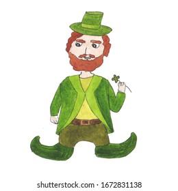 "Leprechaun. One of the symbols of the Irish holiday ""St. Patrick's Day"". Watercolor hand drawn illustration"